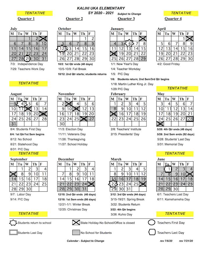 2020-21 School Year Calendar - Kalihi Uka Elementary School